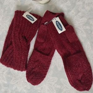 Old Navy Mittens Gloves and headband set cherry